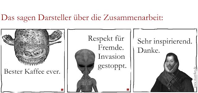 historisches Meeresungeheuer, ein Alien-Sprecher und der größte Freibeuter aller Zeiten, Francis Drake geben ihr Statement ab