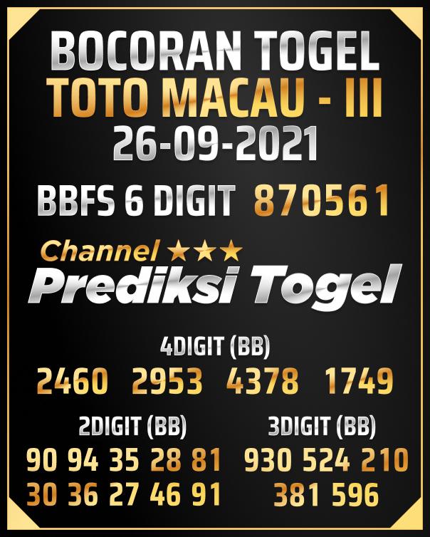 Predksi Shio Toto Macau III