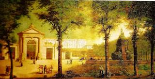 Pintura anónima de la Puerta de San Vicente y plaza exterior con la Fuente de los Mascarones. Al fondo, el Palacio Real.