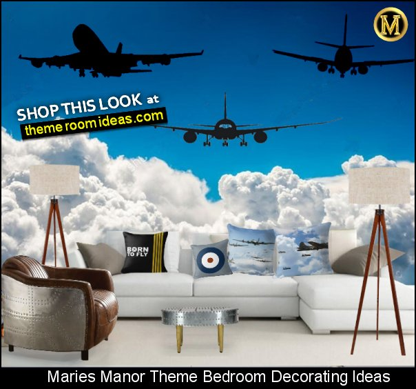 airplane wall decal stickers cloud mural