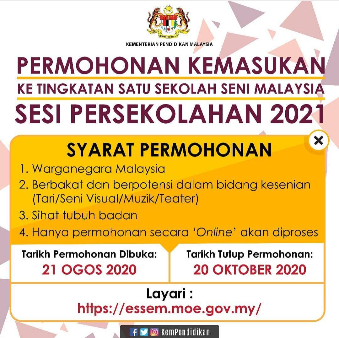 Permohonan Kemasukan Ke Tingkatan 1 Sekolah Seni Malaysia Bagi Sesi Persekolahan 2021 Di Buka Pada 21 Ogos 2020 Hingga 20 Oktober 2020