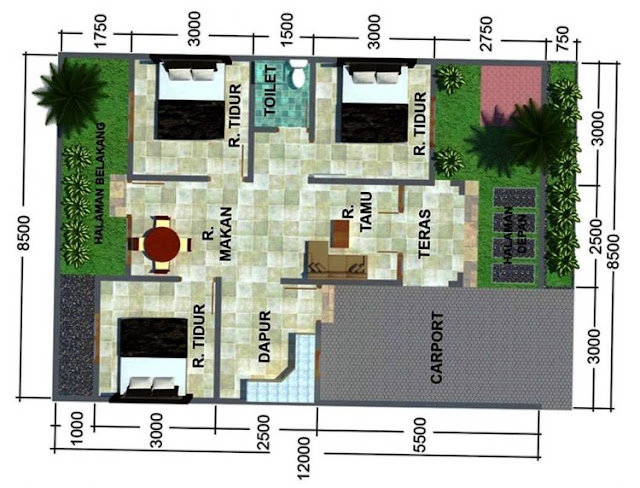 house plans 3 rooms narrow land