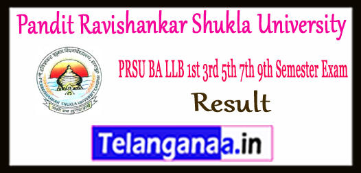 PRSU Pandit Ravishankar Shukla University BA LLB 1st 3rd 5th 7th 9th Semester Result 2017-18