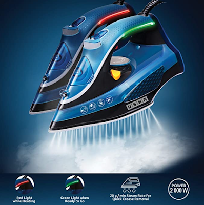 USHA Aqua Glow Smart Steam Iron with Durable Ceramic Soleplate & 73 Steam Vents for Steam Output