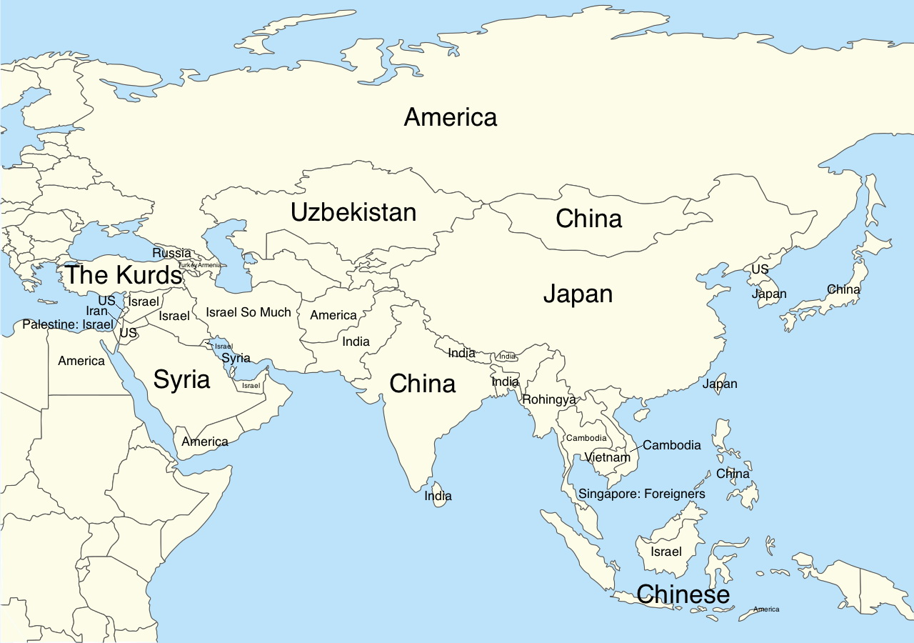 "Google autocomplete for Asia: ""Why is country so...?"""