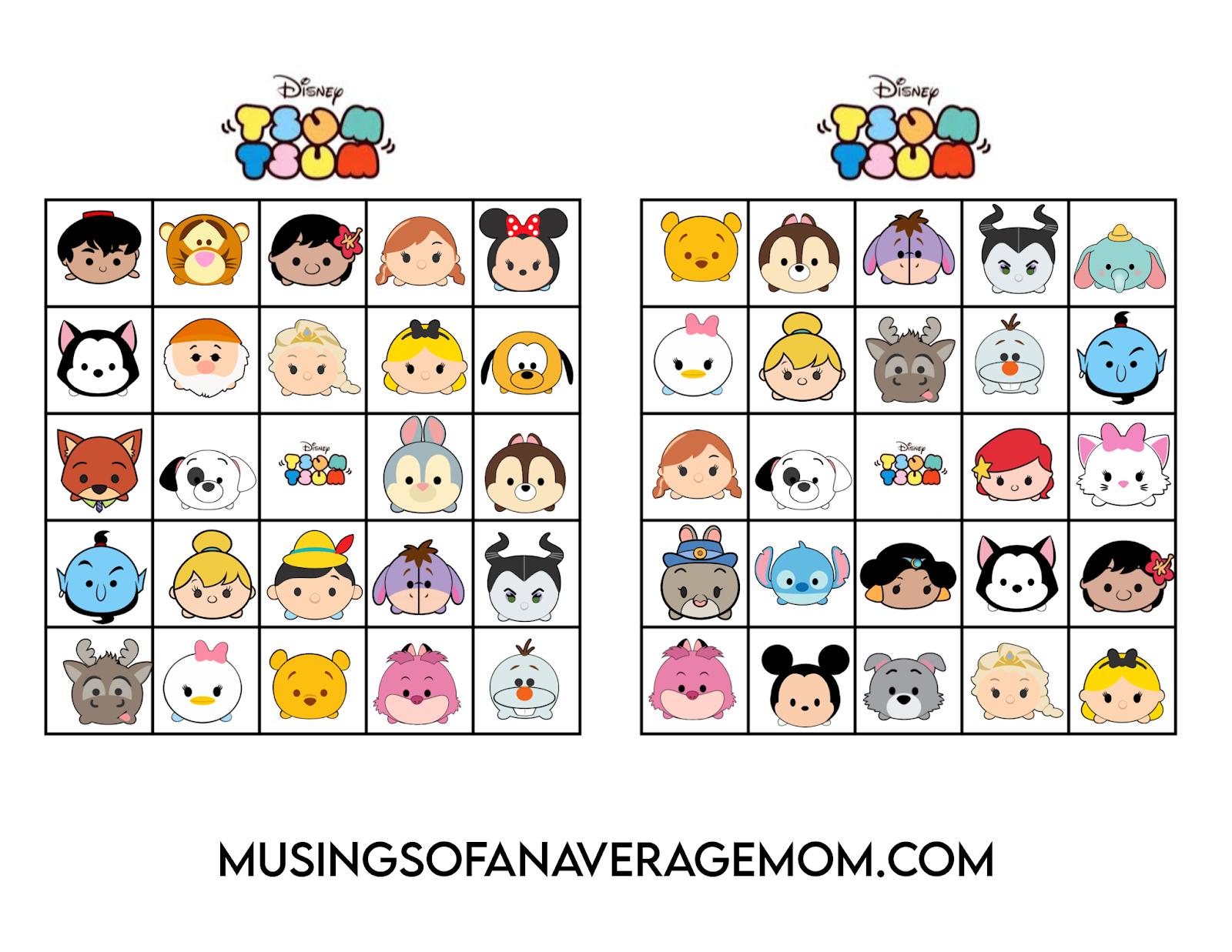Musings of an Average Mom: Disney Tsum Tsum Bingo - Free Printable