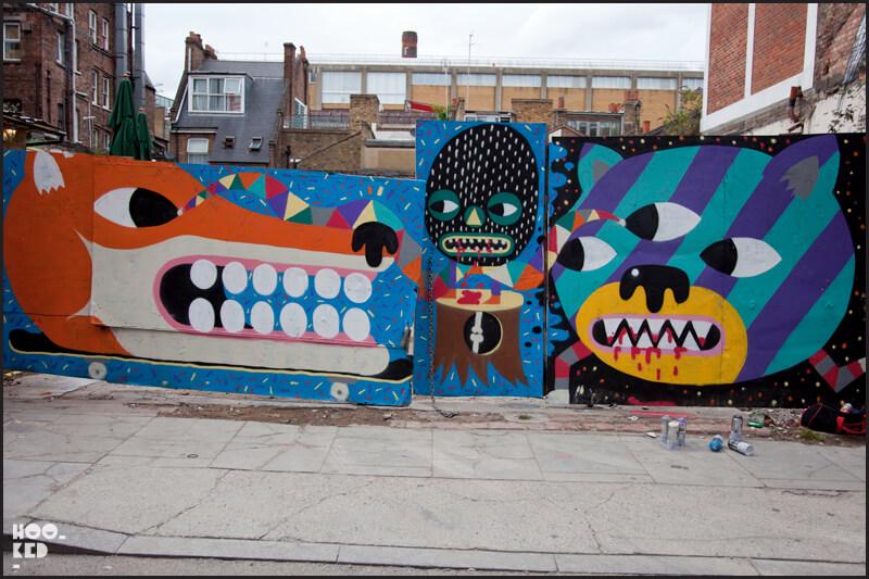London street art on Hanbury Street by artist Malarky