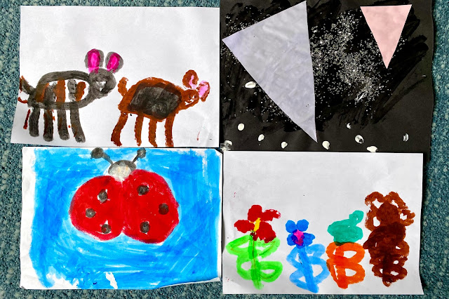 4 pieces of children's artwork on A4 paper including painting and a collage