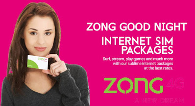 Zong Good Night internet Packages 2021 Daily Weekly Monthly