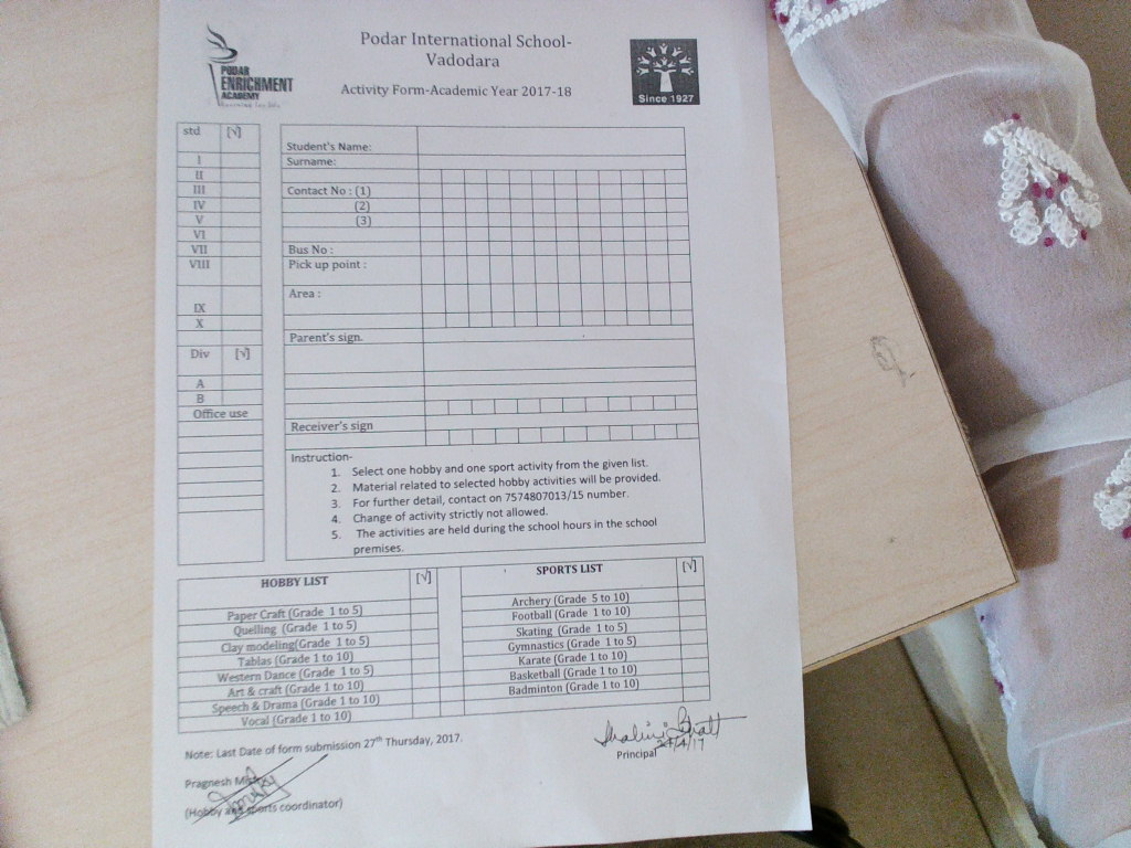 Pis Vadodara Std 4 Hobby List And Sports List Form