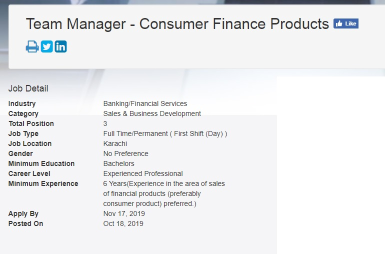 Faysal Bank Jobs for Team Manager - Consumer Finance Products 2019
