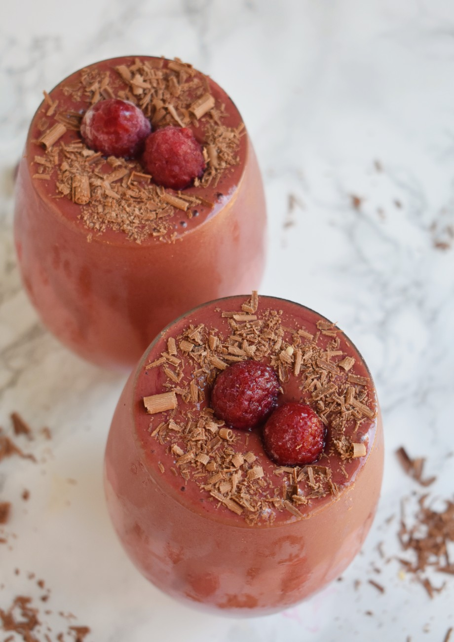 two chocolate raspberry smoothies