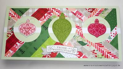 Weihnachtliche Patchwork-Karte mit Weihnachtskugeln Stampin' Up! www.eris-kreativwerkstatt.blogspot.de