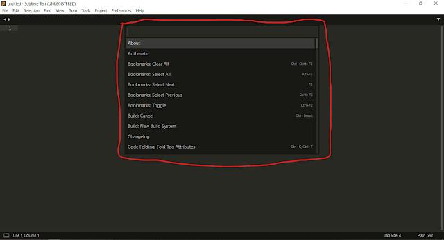 Sublime Text3 Command Pallet | Screenshot