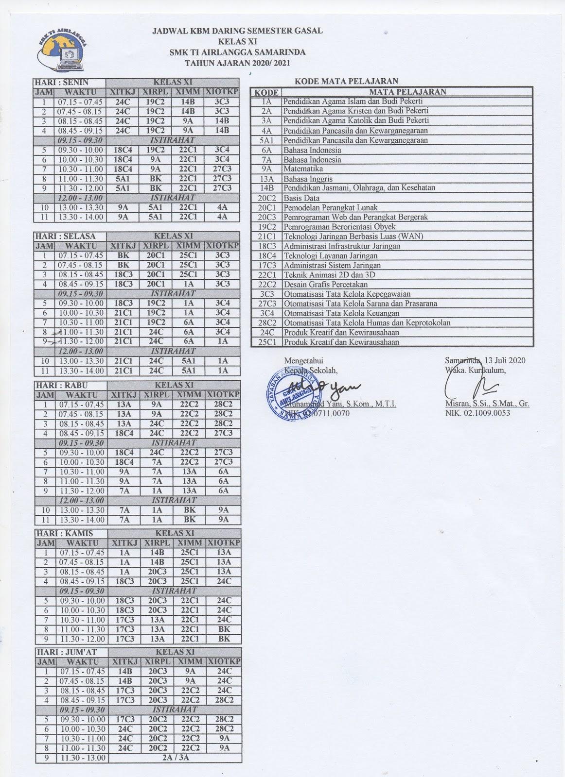 SMK TI Airlangga Samarinda: Jadwal KBM Daring Semester ...