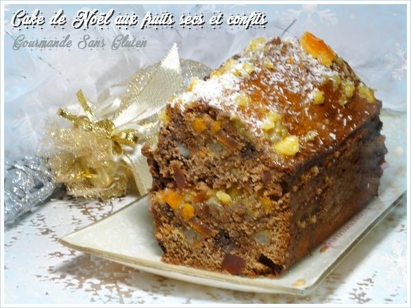 Cake de Noël aux fruits secs et confits et pépites de chocolat sans gluten