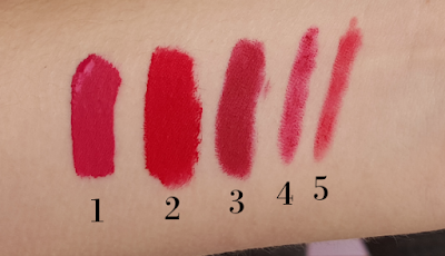 wearing red lipstick swatches