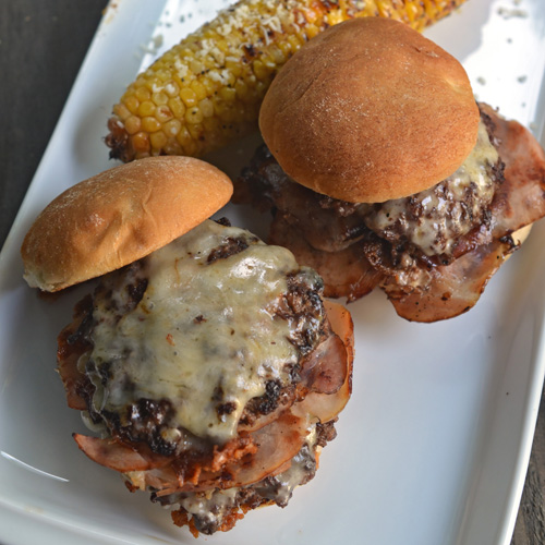 Smash Burger sliders with Vermont White Cheddar and Canadian Bacon