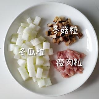 消暑清熱 冬瓜冬菇瘦肉粒粒湯材料