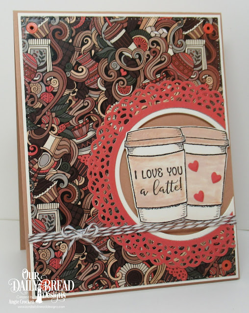 ODBD Hug In A Mug Stamp/Die Duos, ODBD Latte Love Paper Collection, ODBD Custom Dies: Fancy Circles, Circles, Pierced Rectangles, Clouds and Raindrops, Card Designer Angie Crockett