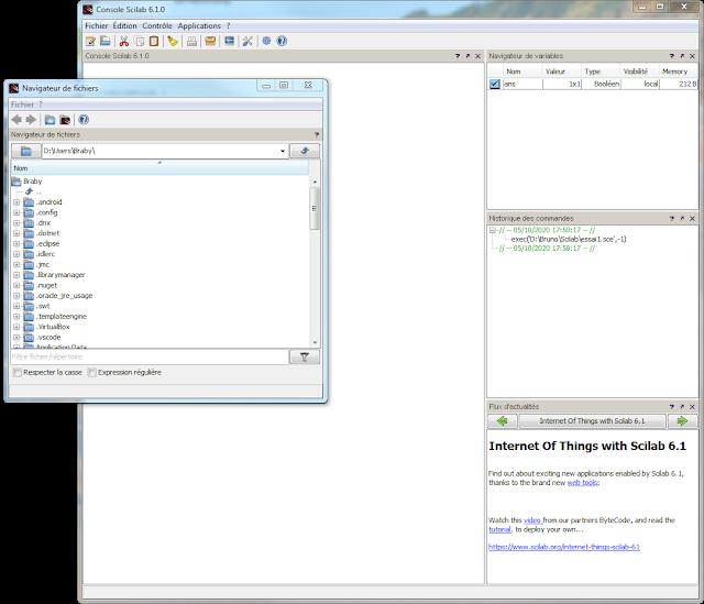 """Scilab je me retrouve avec le """"navigateur de fichiers"""" dans le vide Grrrrr"""