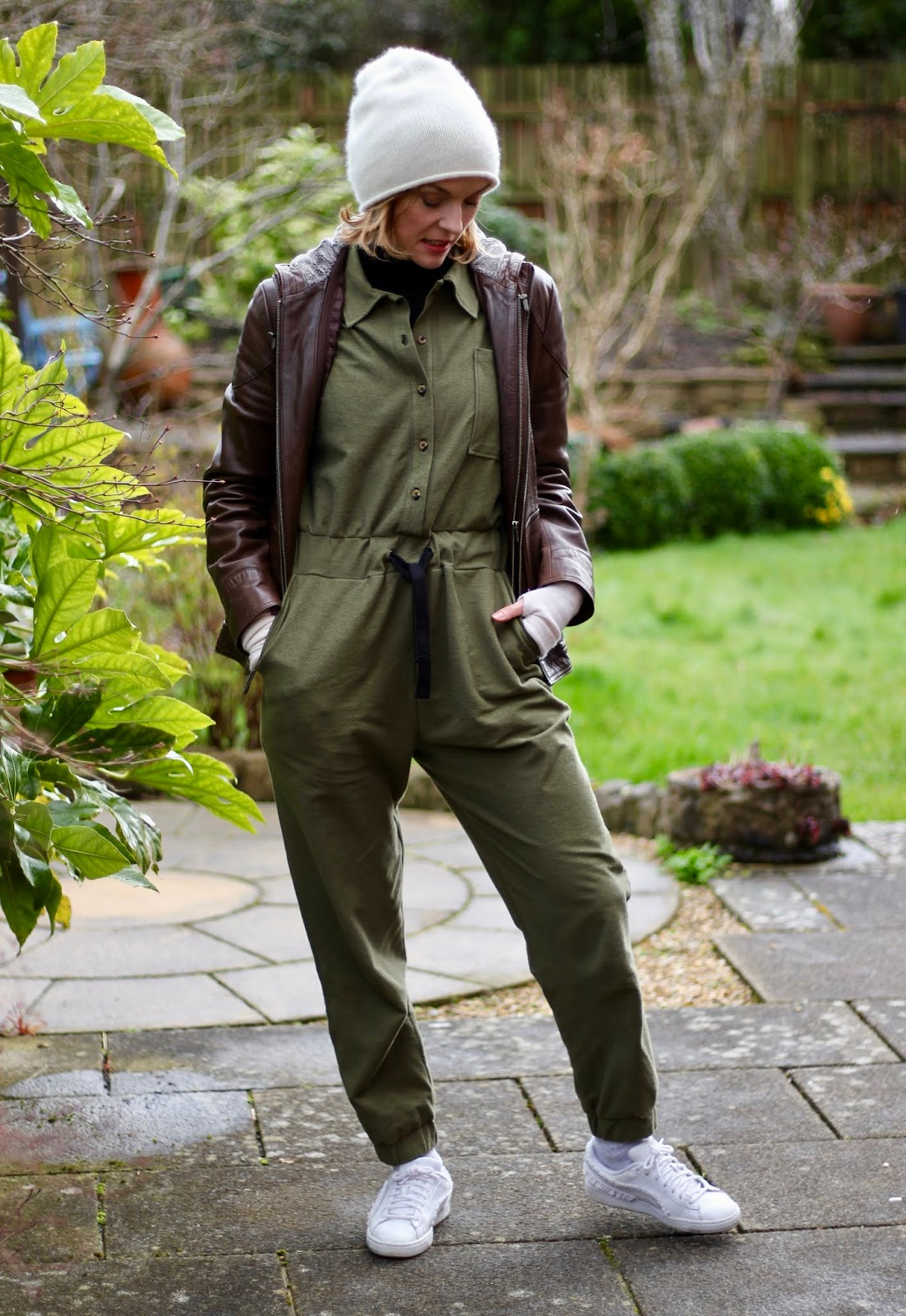 Khaki boiler suit, white trainers and leather   Fake Fabulous