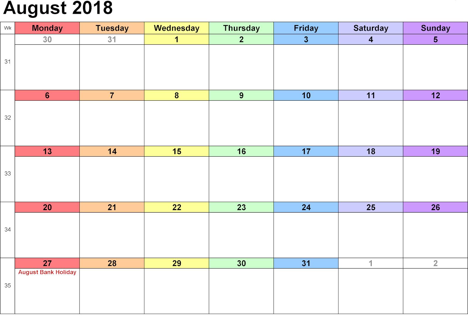 August 2018 Editable Calendar Template