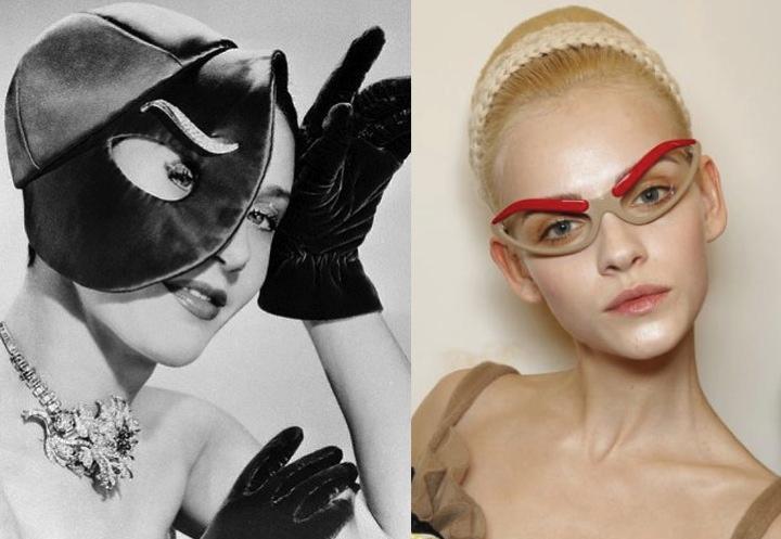 INSPIRATION Elsa Schiaparelli s eyebrow cap 1949… Prada s eyebrow glasses  FW2010 25419f50bc5
