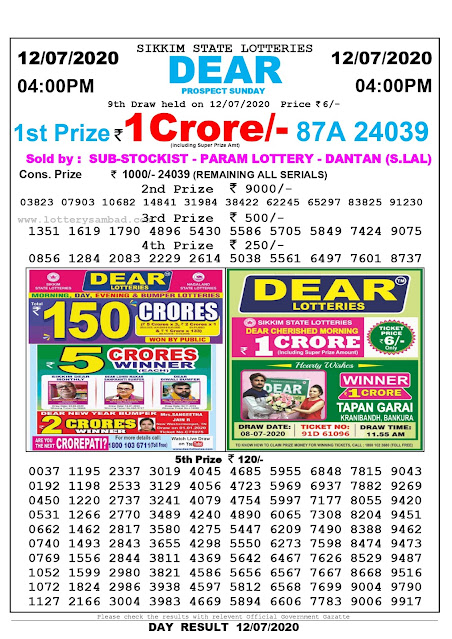 Sikkim State Lottery Sambad 12-07-2020 Today Result 4 PM