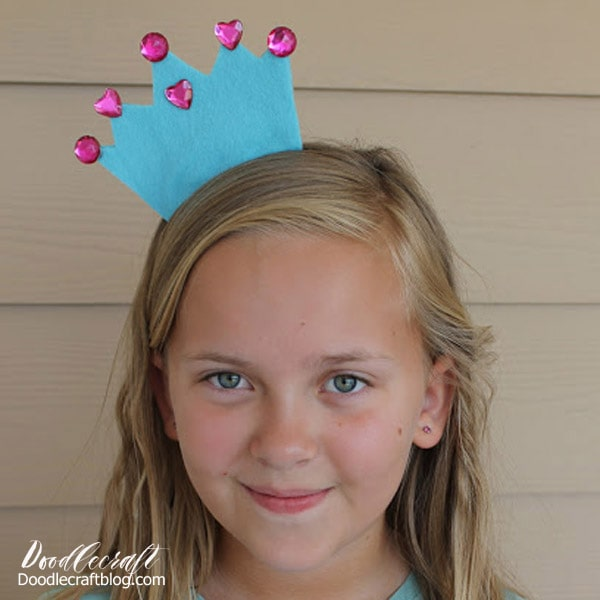 Make a whimsical crown headband with felt and rhinestones.