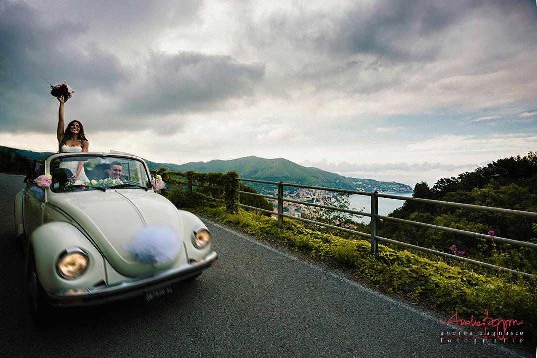 panorama sposi Liguria riviera bride groom wedding