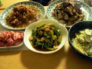 豚肉ナス味噌 タマネギと豚肉のオイスターソース ニンニク豆苗炒め