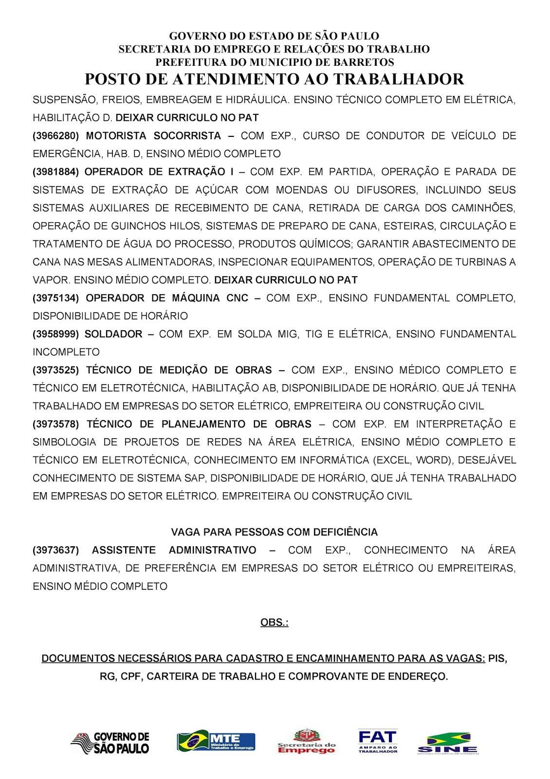 VAGAS DE EMPREGO DO PAT BARRETOS-SP PARA 31/01/2017 TERÇA-FEIRA - PAG. 2