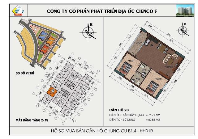 Sơ đồ căn hộ chung cư B1.4 căn 28 tòa HH01B