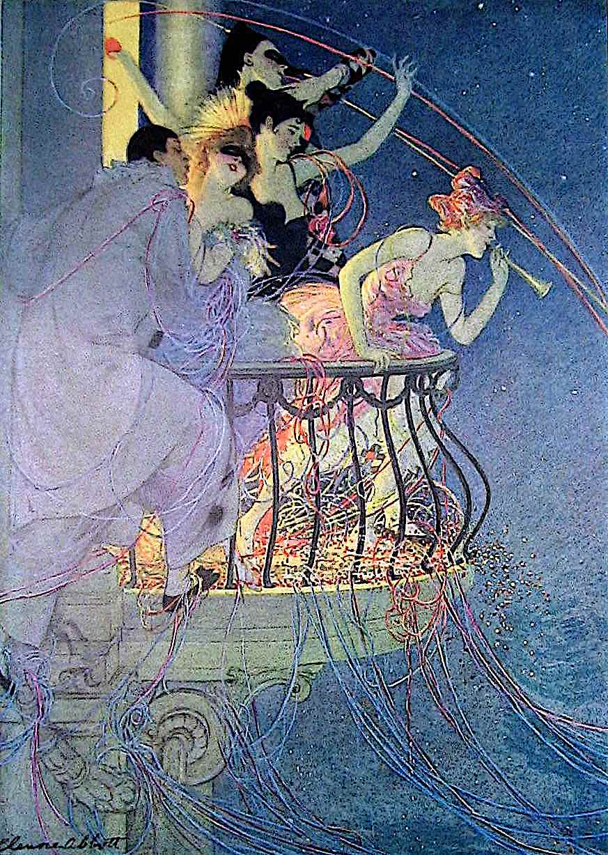 an Elenore Plaisted Abbott illustration of partiers with confetti on a balcony at night