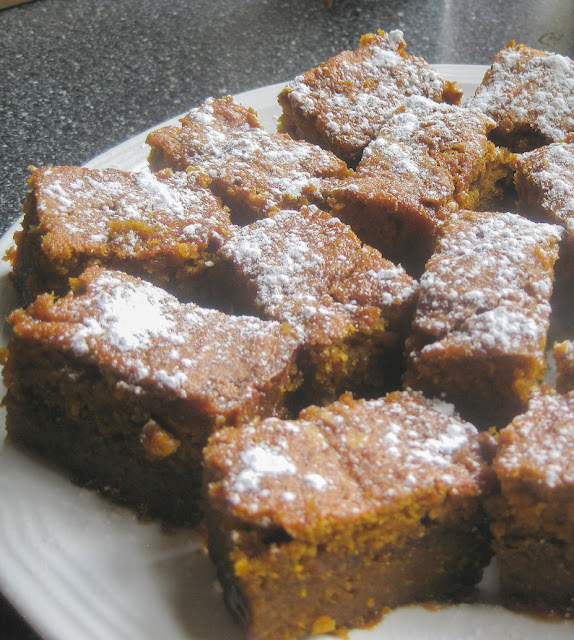 Food Lust People Love: Alternating layers of sweet pumpkin batter and rich salted caramel sauce bake up into the most succulent pumpkin blondies you'll ever want to eat. Pass these around for your Halloween party, or even Thanksgiving dessert! They are that special.