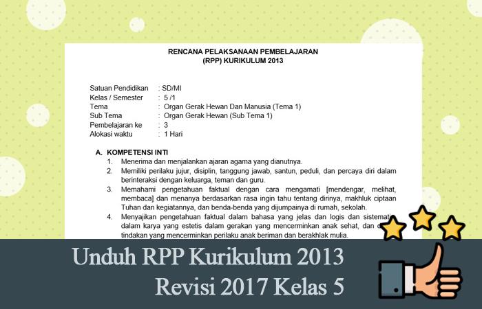 Unduh RPP Kurikulum 2013 Revisi 2017 Kelas 5