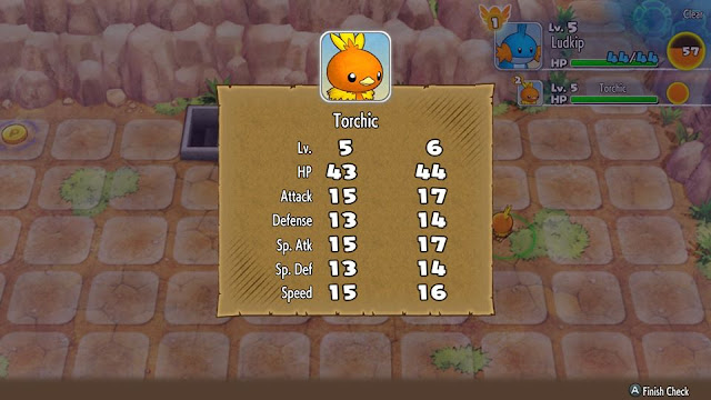 Pokémon Mystery Dungeon Rescue Team DX Torchic level up screen
