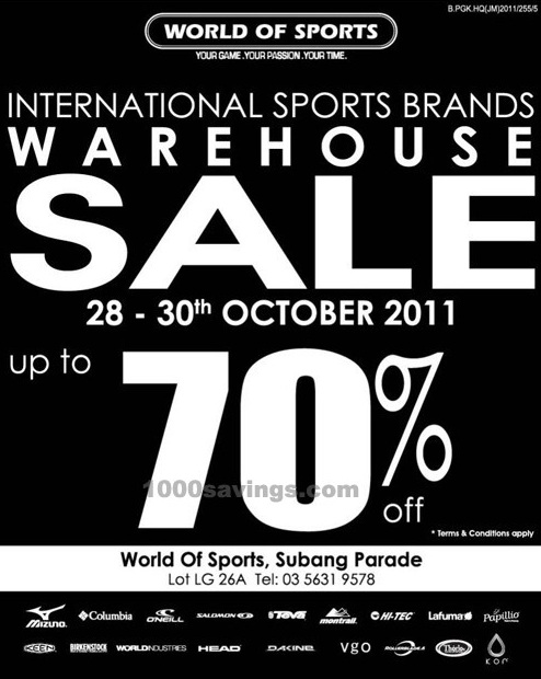 Subang Parade: World Of Sports Warehouse Sale, up to 70% OFF