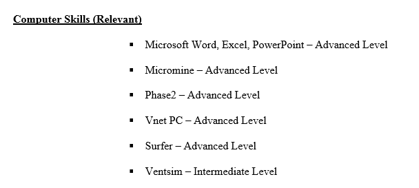 Step By Step CV Resume Writing Step 3 Computer Skills