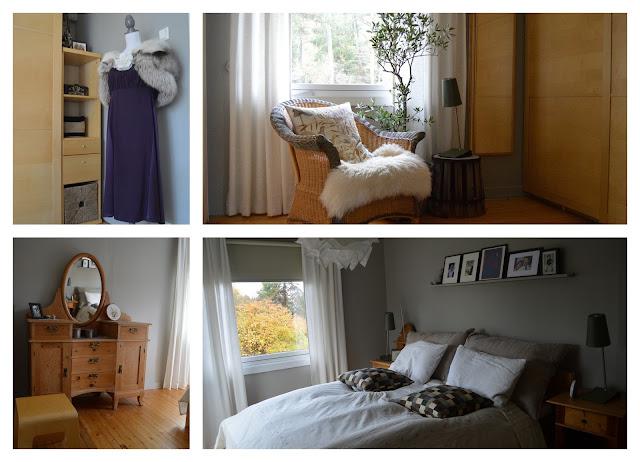 Tidløst design i interiøret. Kollasj over dekorasjonselementer i et soverom. Furulunden