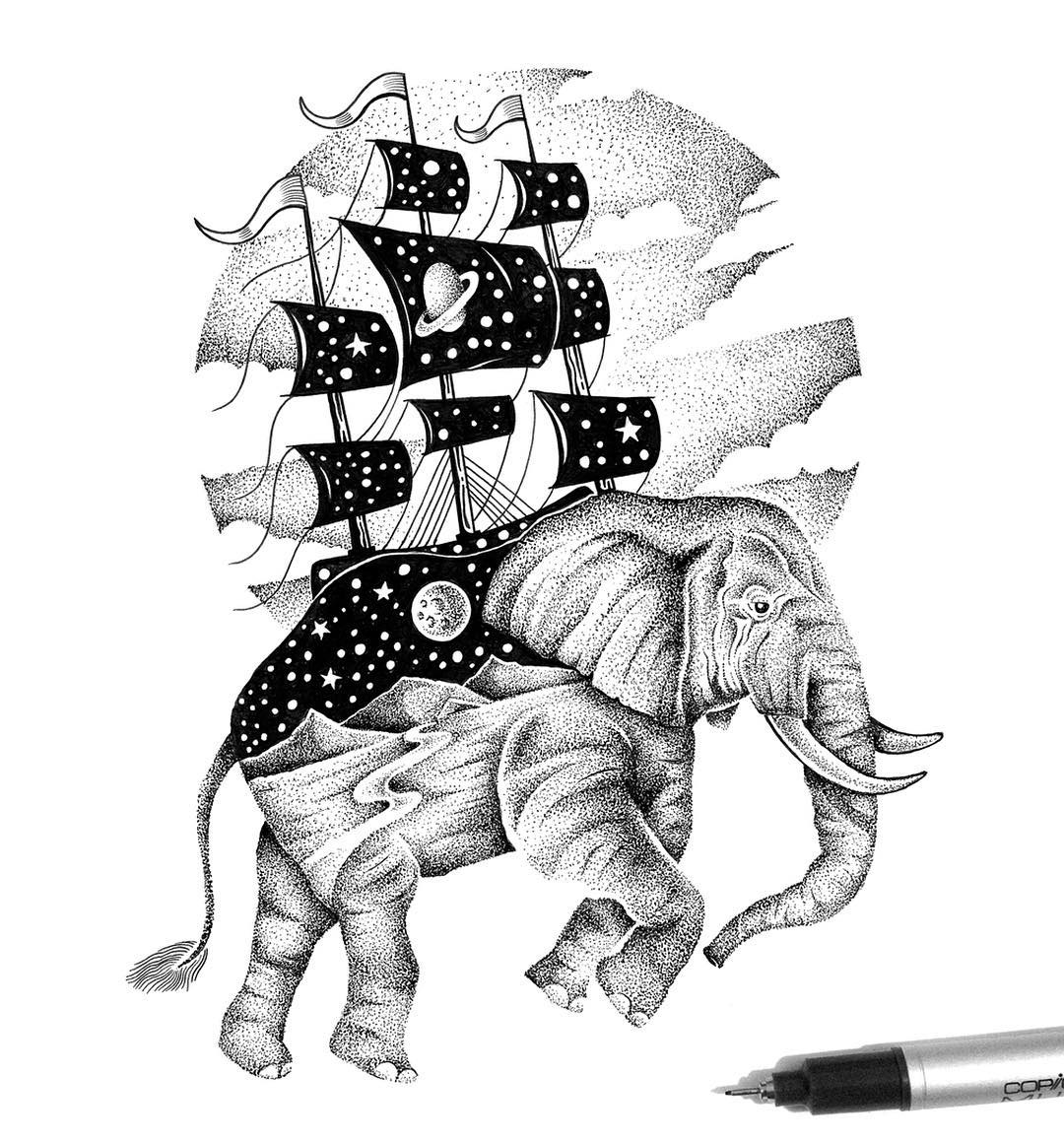 22-Flying-Elephant-and-Ship-Thiago-Bianchini-Eclectic-Collection-of-Drawings-and-Illustrations-www-designstack-co