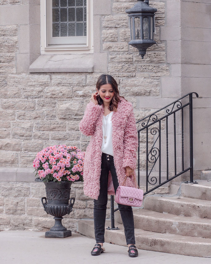 How to Style a Pink Teddy Bear Coat Jacket Blogger Outfit Street Style Max Mara Dupe 2018
