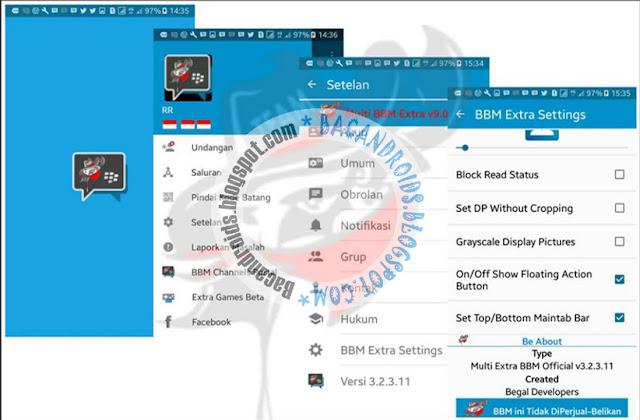 BBM mod Extra Standard theme Full Fitur v3.2.3.11 Apk Clone unclone