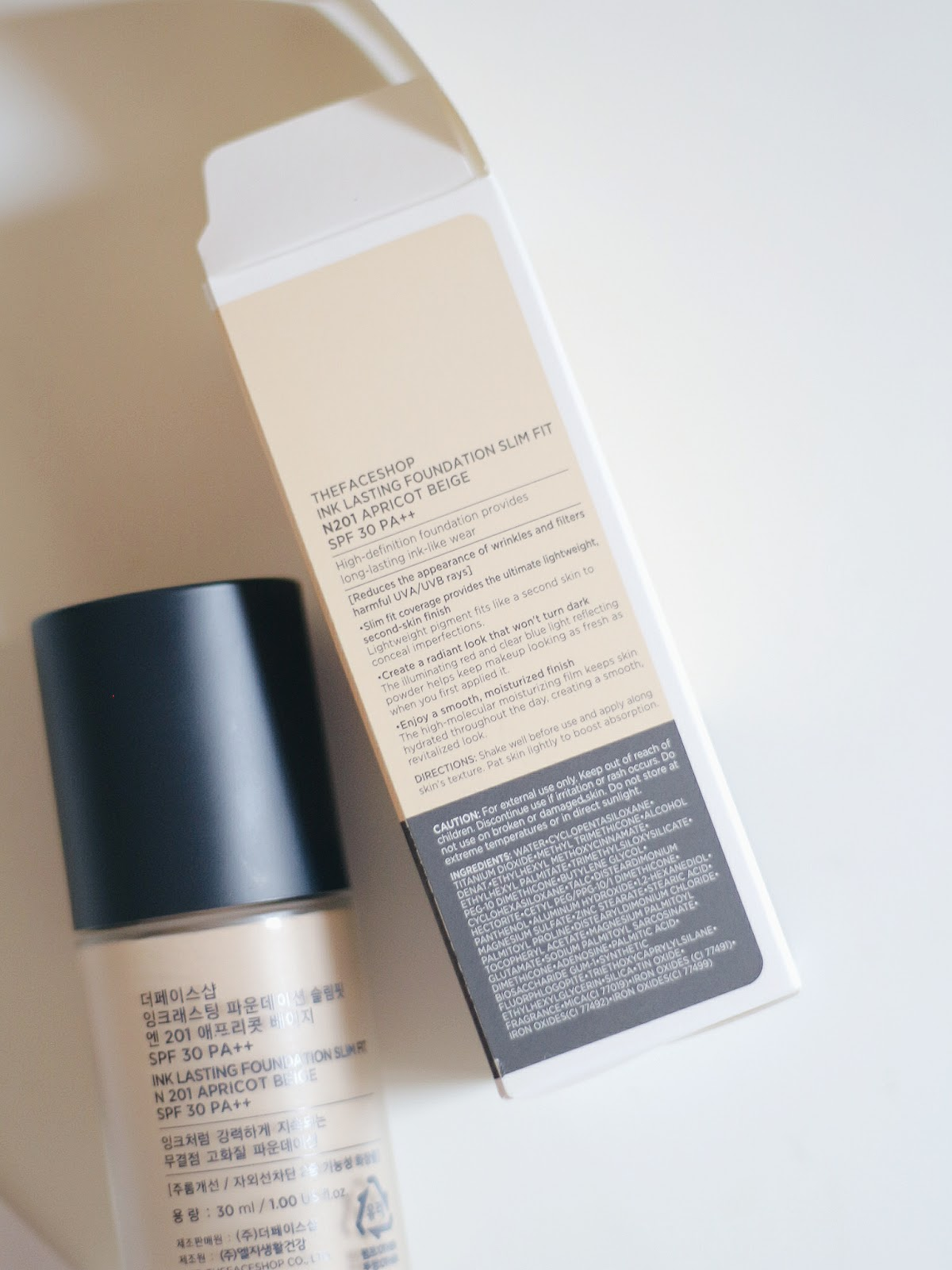 The Face Shop Ink Lasting Foundation Review Swatch N201