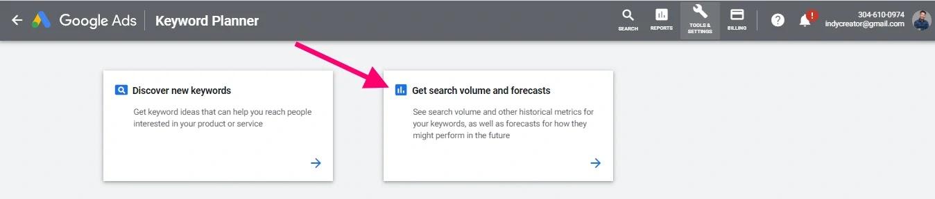 ค้นหาปริมาณคีย์เวิร์ดและคาดเดา - Google Keyword Planner
