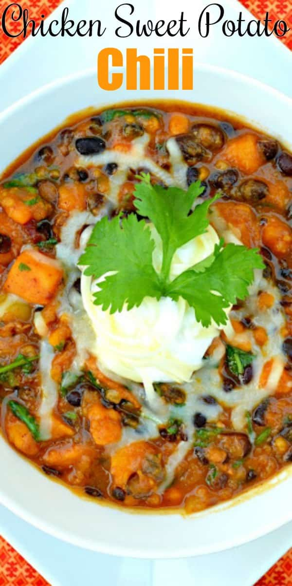 Chicken Sweet Potato Chili recipe can be made on the stove or in the Crock Pot from Serena Bakes Simply From Scratch.