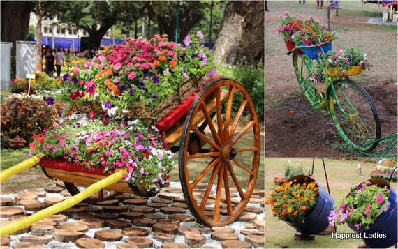 Dasara Flower Show 2016 - handcart, bicycle, drums