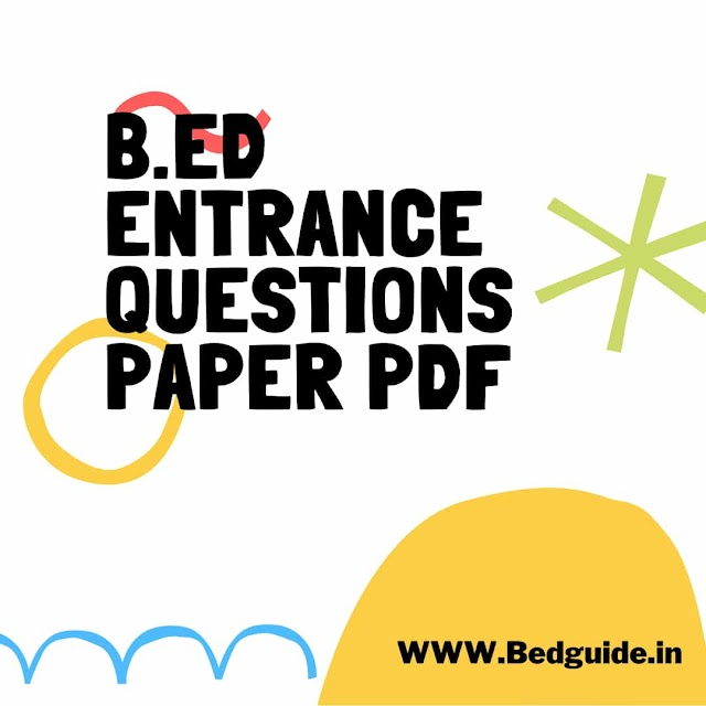 B.ED Entrance Exam Questions Paper PDF in Hindi