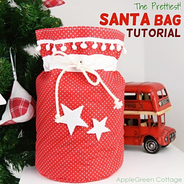 Learn how to make a reusable Santa bag. Tutorial by AppleGreen Cottage